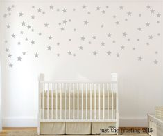 Silver Star Wall Decals - Confetti Star Decals Set of 105 - Silver or Gold Decals