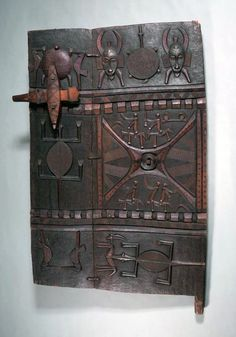Africa | Door from a chief's dwelling from the Senufo or Nafaras people of the Ivory Coast | Wood, carved and painted