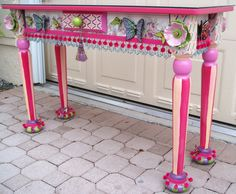 """Butterfly & Poppy Sofa Table - 46""""W X 16""""D X 30""""H, with ceramics, beads and fringes"""