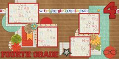 School Double Layout! Easy Scrapbook pages! We offer designs in both Physical AND digital formats. Just add photos!