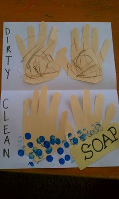 Lesson in hygiene (my demo)...  Kids make their hands dirty and then they show their hands getting clean with soap and water. #hygeine #activities #preschool #cleanliness