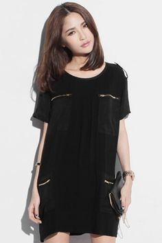 Zippered Pocket Black Dress  #ROMWE