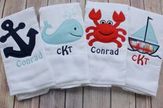 Baby Boy Monogrammed Burp Cloth Set, Nautical Burp Cloth Set, Whale, Anchor, Sailboat, Crab, Personalized Burp Cloth Set, Baby Shower Gift by FunkyMonkeyChildren on Etsy https://www.etsy.com/listing/230566577/baby-boy-monogrammed-burp-cloth-set