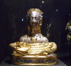 Reliquary bust of St Margaret, mid-15th century, possibly Sienese in silver, copper and colored stones; from the cathedral of St Margaret in Montefiascone.
