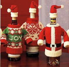 Wine Bottle Cover Christmas Sweater & Matching Santa Cap - Designs Vary