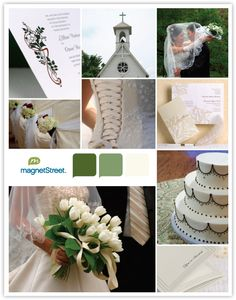Traditional Wedding Theme Inspiration Board - Green and White Color Palette