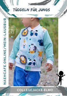 Nähen für Jungs macht mit dem Schnittmuster garaniert Spaß – die Collegejacke ist cool und lässig. Perfekt für große und kleine Buben. Mit diesem Schnittmuster macht Nähen für Jungs macht einfach Spaß! Mein Lausbub – Schnittmuster für Jungs Elmo, Sweatshirts, Sweaters, Collection, Fashion, Seasons Of The Year, Tops, Sewing Patterns, Jackets