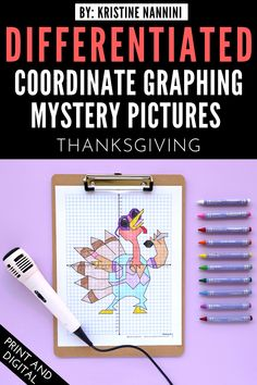 Thanksgiving Coordinate Graphing Mystery Pictures - Your 3rd, 4th, 5th, and 6th grade upper elementary students will sing their heart out as they plot ordered pairs to create this fun mystery picture. Differentiated options allow for students to work with whole numbers, negative numbers, and decimals. Click through to see how you can use this download for both in-person and online classrooms. #UpperElementary #KristineNannini #MysteryPictures