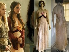 """In the episode (""""Snakes in the Garden"""") Lady Kenna wears a vintage Lace Satin Dress. Reign Dresses, Satin Dresses, Gowns, Kenna Reign, Lady Kenna, Reign Fashion, The Cw Shows, Custom Wedding Dress, Vanessa Mooney"""