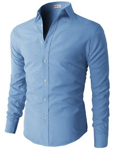 H2H Mens Oxford Cotton Slim Fit Dress Button-down Shirts Long Sleeve BLUE US S/Asia M (KMTSTL0219)