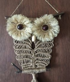 OWL macrame wall hanging, handmade, sisal, jute