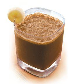 Chocolate Banana Protein Shake  Ingredients:  1 scoop of chocolate whey protein, 1 medium banana, water. Nutrition:  215 calories, 25 grams protein