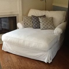 perfect sized comfy chair for 2 ppl to snuggle up! <3 (would prefer in dark brown suede though) Potterybarn Sofa U Love Chaise Chair Couch Slipcover White Cotton Denim