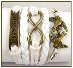 White Multi Layered Wrap Bracelet Infinity Symbol Dream & 2 Flying Birds Charms - Bracelets