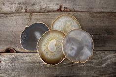 Gold Rimmed Agate Coasters S/4 by Heritage1956 on Etsy