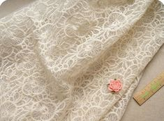 ivory Bridal Lace Fabric, vintage lace fabric,embroidered organza lace, wedding lace fabric by the yard