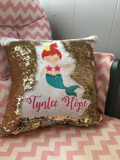 Gold and white Personalized Mermaid Pillow Mermaid Sequin, Cute Mermaid, The Little Mermaid, Mermaid Crafts, Unicorn Bedroom, Mermaid Pillow, Sequin Pillow, Old Art, Cute Bags