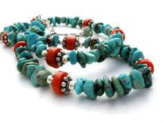 Vintage Turquoise And Coral Necklace Sterling Silver Nugget Bead Southwestern #TheJewelryLadysStore #StrandString