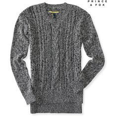 Aeropostale Prince & Fox Sheer Cable Sweater ($20) via Polyvore featuring tops, sweaters, black, cotton cable knit sweater, cable-knit sweater, aéropostale, chunky cable sweater and transparent tops