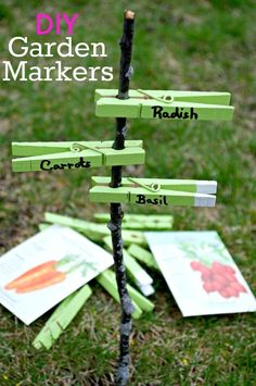 Easy, DIY garden markers made from clothespins! #diy #gardenmarkers #kidscraft #craft #diygardenmarkers