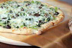 Pizza with Smoked Mozzarella, Black Olives, and Broccoli Rabe