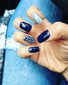 Navy Blue Chevron Glitter Nails