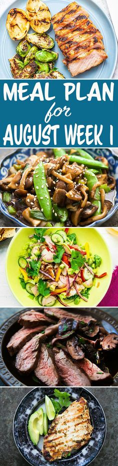 Here's your meal plan for August Week We've got Cilantro Lime Chicken, Fish Taco Salad Bowls, a quick Mushroom Stir Fry, and more! Good Healthy Recipes, Whole Food Recipes, Cooking Recipes, Taco Salad Bowls, Meal Prep Plans, Simply Recipes, Easy Weeknight Dinners, Lunch Snacks, Lime Chicken