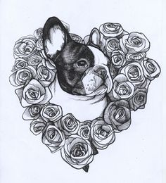roses , valentine's day , frenchie , french bulldog , heart , love , teunen , jeroen teunen