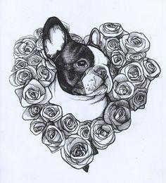 roses , valentine's day , frenchie , french bulldog , heart , love , teunen , jeroen teunen