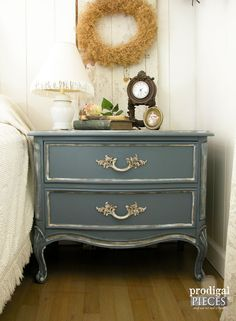Vintage Blue French Provincial Serpentine DuBarry Dixie Nighstand / Side Table ~ Shabby Chic French Country