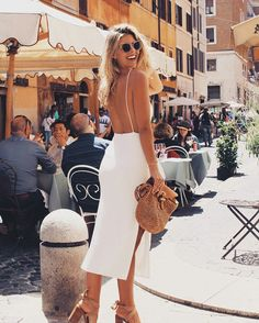 Cute Backless dress, perfect for a summer date night. #allwhite #backlessdress #nude #accessories