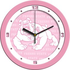 Ladies Fresno State Bulldogs - Pink Wall Clock