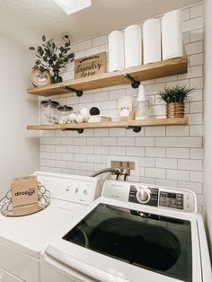 Small laundry room ideas on a budget. DIY open shelving and peel and stick wallpaper Laundry Room Shelves, Laundry Room Remodel, Basement Laundry, Farmhouse Laundry Room, Laundry Room Design, Small Laundry Closet, Laundry Room Small Ideas, Laudry Room Ideas, Ikea Laundry