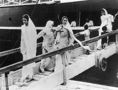 9th October 1947 Sindhi Hindu and Sikh women and children arriving at Bombay on the British-India liner Dwarka, from Karachi after their flight from Pakistan Partition 1947-8. From Life Magazine