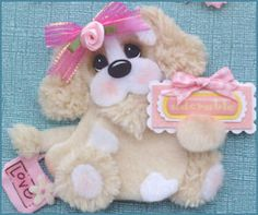 ADORABLE-Girl-Puppy-Tear-Bear-4-Premade-Scrapbook-Pages-Paper-Piecing-LAPULENTA