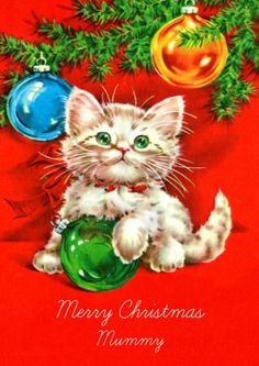 Kitten | Vintage Christmas card £2.99    Personalise this cute vintage style Christmas card at scribbler.com