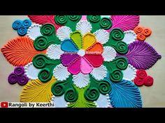 Krishna Janmashtami special rangoli design Very Easy Rangoli Designs, Kolam Designs, Mehndi Designs, Rangoli Colours, Special Rangoli, Dressing Room Design, Krishna Janmashtami, Diwali Rangoli, Nailart