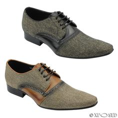 Mens Herringbone Real Leather Shoes Smart Retro Laced DerbySize 6 7 8 9 10 11