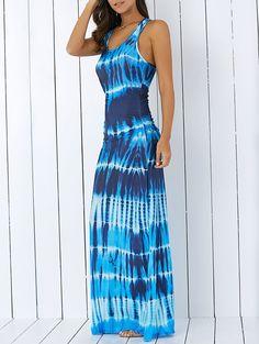 Bohemian Illusion Tie-Dye Print Raceback Maxi Dress