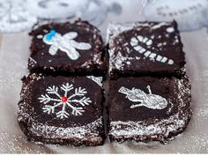 How to do powdered sugar stenciling on brownies or other Christmas treats. Jackie Alpers for the Food Network.