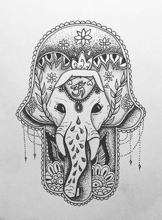 Dotwork Elephant Hamsa Tattoo Design