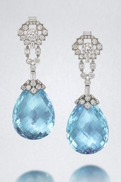 A pair of aquamarine and diamond pendent earrings, by Cartier, Aquamarine Jewelry, Opal Jewelry, Charm Jewelry, Fine Jewelry, Pandora Jewelry, Silver Jewelry, Large Diamond Rings, Gold Rings, Black Diamond