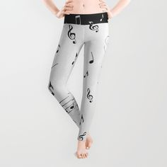 'Music - Black and White' leggings by LLL Creations.  This design is available in many different products.    #society6 #society6_products #LLLCreations #music #leggings