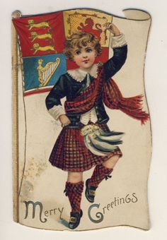 Victorian antique christmas card, Boy Highland Dancing, by Raphael Tuck