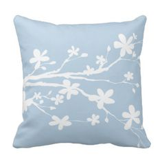 Light Baby Blue Peaceful Branches Throw Pillow