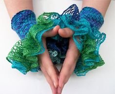 "Ocean Blue and Green Ruffled Wrist Cuff Wrist Warmers ""Mermaid in the Kelp"" Blue Green Ruffles  sCREECHES"