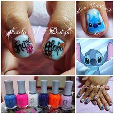 Hand-drawn Stitch Hawaiian theme nail design, art, Disney