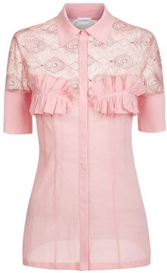 3135d998211 La Perla La Perla Elements Powder Pink Silk Georgette Shirt With Lurex  Embroidery Ruffle Shirt