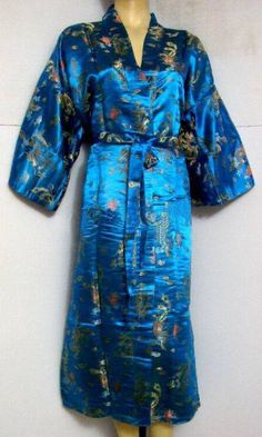 Hot Sale Light blue Chinese Men s Polyester Satin Robe Dragon phenix Kimono  - US  22.58 08e408290