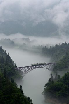 Above the clouds - JR Tadami-Line, Fukushima, Japan Places Around The World, Around The Worlds, Trains, Niigata, Fukushima, Above The Clouds, To Infinity And Beyond, Train Tracks, Covered Bridges